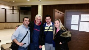 GM Miljkovic, WGM Djukic and me with legendary John Nunn