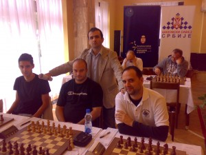Me with teammates, IM Roganovic, GM Pap and GM Lajthajm